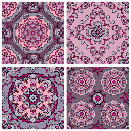 Set of squared backgrounds - ornamental seamless pattern. Design for bandanna, carpet, shawl, pillow or cushion. Vector