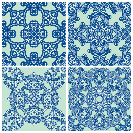 Set of squared backgrounds - ornamental seamless pattern. Design for bandanna, carpet, shawl, pillow or cushion. Ready to use as swatch. Vector