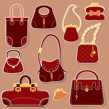 Set of woman bags and handbags. Vector