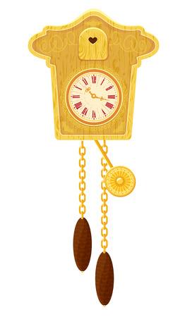 reloj cucu: vendimia de madera del reloj de cuco - objeto aislado sobre fondo blanco
