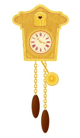 cuckoo: vintage wooden Cuckoo Clock - object isolated on white background