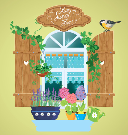 tomtit: Window and flowers in pots, tomtit bird and handwritten text Home, Sweet Home. Summer or spring season. Illustration