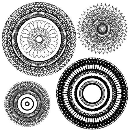 Set of Vintage backgrounds, Guilloche ornamental circle Elements for Certificate, Money, Diploma, Voucher, decorative round frames. Illustration