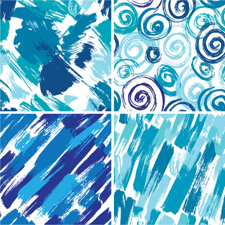 spatter: Set of seamless pattern with blots and ink splashes in blue colors Illustration