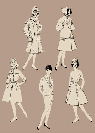 mujeres elegantes: Conjunto de mujeres elegantes - los modelos de moda de estilo retro - primavera o temporadas de oto�o. Imagen en tonos beige
