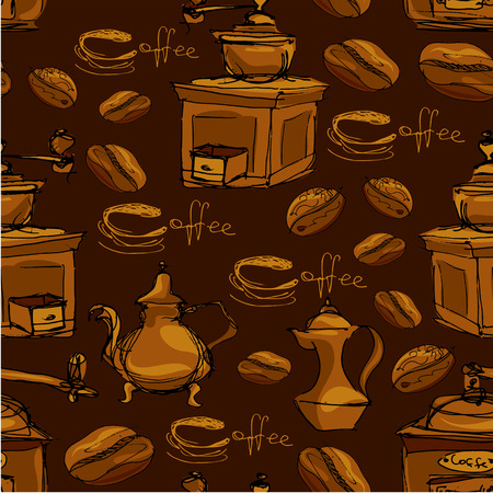coffee grinder: Seamless pattern with handdrawn coffee cups, beans, grinder, coffee pot, calligraphic text COFFEE. Background design for cafe or restaurant menu. Illustration