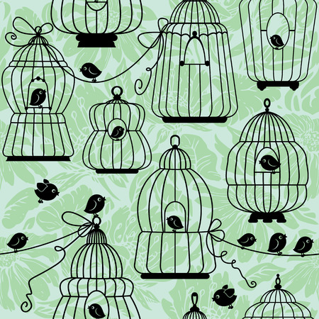 caged: seamless pattern with decorative bird cage Silhouettes on floral background. Ready to use as swatch. Illustration