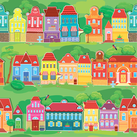 balcony view: Seamless pattern with decorative colorful houses, spring or summer season. City endless background. Ready to use as swatch.