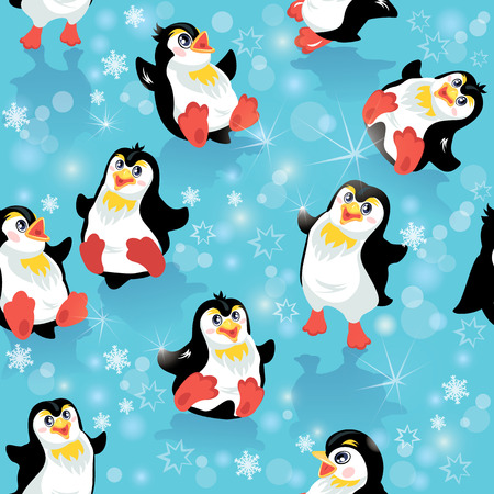 Seamless pattern with funny penguins and snowflakes on blue icy background, design for winter, Christmas or New Year themes