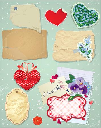 Set of vintage postcards, vintage papers and labels in heart shape for Valentines Day design. Vector