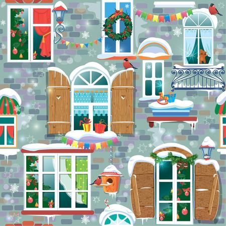 Naadloos patroon met decoratieve Windows in de winter. Kerstmis en Nieuwjaar vakantie Stad eindeloze achtergrond.