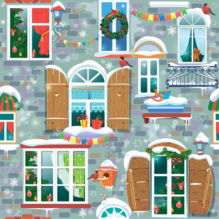 window curtains: Seamless pattern with decorative Windows in winter time. Christmas and New Year holidays City endless background. Illustration