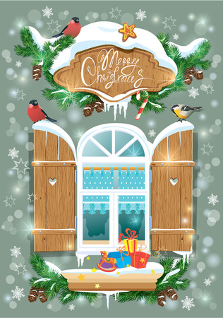 bilding: Christmas and New Year card with wooden frosty window, fir tree branches, birds and snowflakes. Illustration