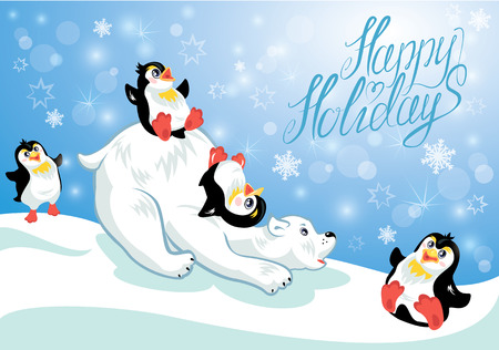 Card with funny penguins and polar bear on blue snow background, cartoons for winter, Christmas or New Year design. Hand written text Happy Holidays.