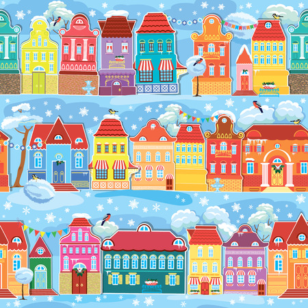 Seamless pattern with decorative colorful houses in winter time. Christmas and New Year holidays City endless background. Vector