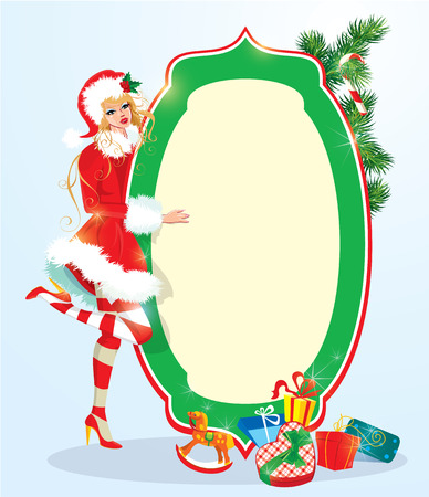 cute girl smiling: Blond xmas Girl wearing Santa Claus suit staying next to frame. Christmas and New Year card design.