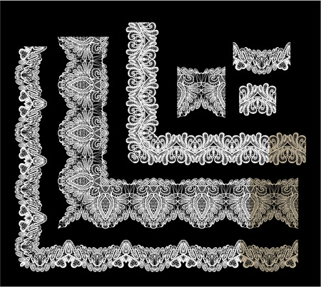 embroidery on fabric: Frame Elements Set - different lace edges and borders - Seamless stripes - floral lace ornament - white on black background