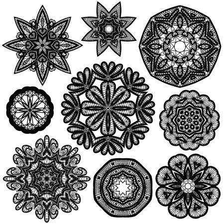 doiley: Set of Abstract circle lace patterns.