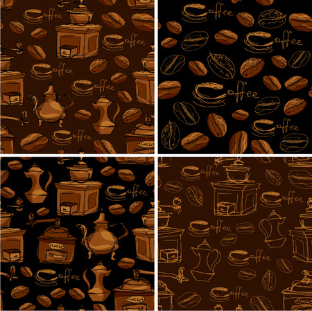 coffee grinder: Set of 4 seamless patterns with handdrawn coffee cups, beans, grinder, coffee pot, calligraphic text COFFEE. Background design for cafe or restaurant menu.