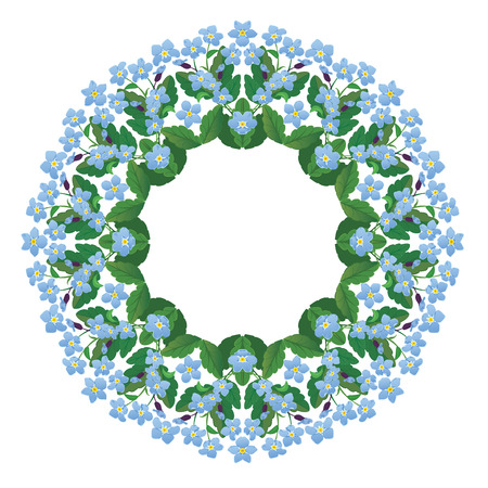 garland border: Forget me not floral round frame isolated on white background. Spring or summer season flower element.
