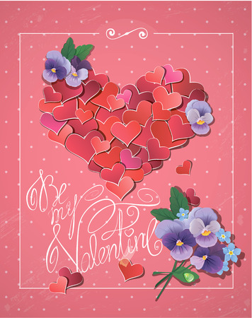 Valentines day card with Red hearts confetti in big heart shape, violet flowers and handwritten text Be my Valentine on pink polka dots background Vector