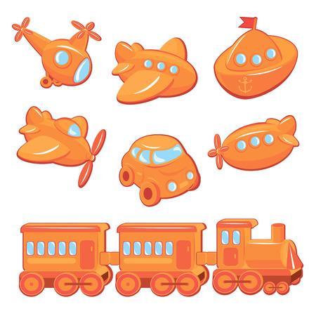 Set of boys toys - transport cartoons - train, car, plane, ship, helicopter, submarine Vector