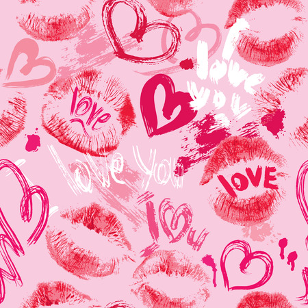 Seamless pattern with brush strokes and scribbles in heart shapes, lips prints and words LOVE, I LOVE YOU - Valentines Day Background. Vector