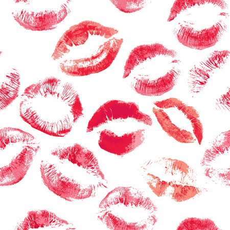 Seamless pattern with beautiful red colors lips prints on white background. Vectores