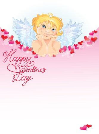 paper art: Cute angel with red paper hearts confetti and lights. Valentines Day card design.