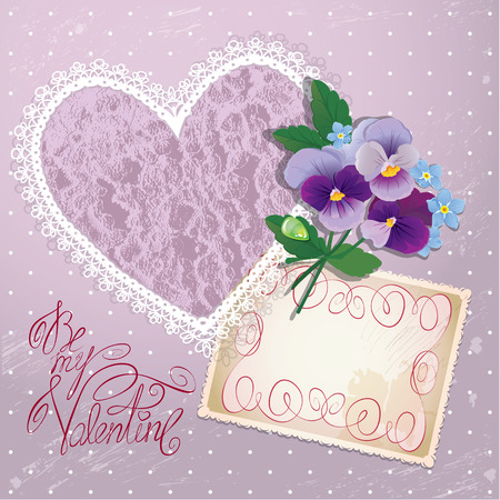 i label: Vintage postcard, beautiful pansy flowers, lace heart and calligraphic text Be my Valentine - Background for Valentines Day design.