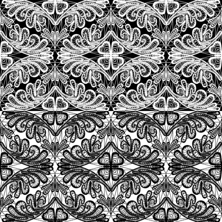 Seamless pattern - floral lace ornament - white and black background Vector