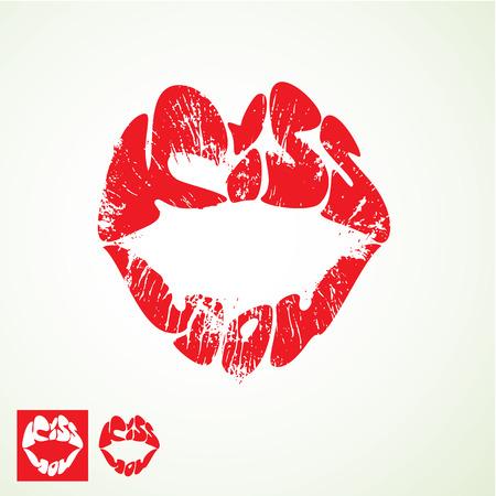 beso labios: labios de impresión en forma de palabras besarte - elemento de Día de San Valentín
