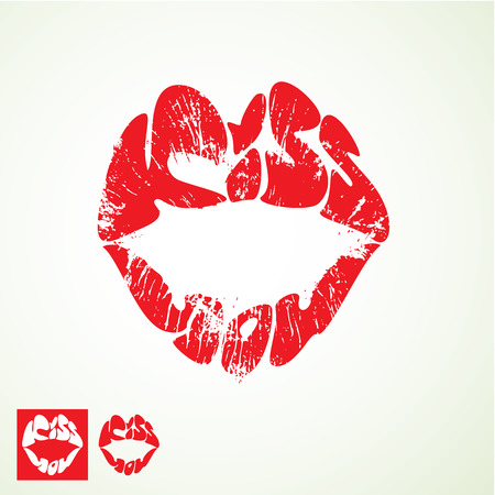 lips kiss: lips print  in shape of words KISS YOU - Valentines Day element