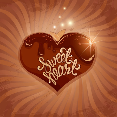sweet heart: Abstract picture with heart  in chocolate glaze on retro striped  background. Calligraphic text Sweet Heart. Valentines Day vintage card.