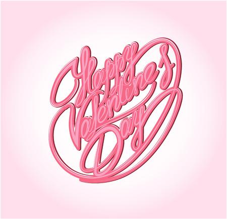 written text: Happy Valentine`s Day. Calligraphic element, Hand written text