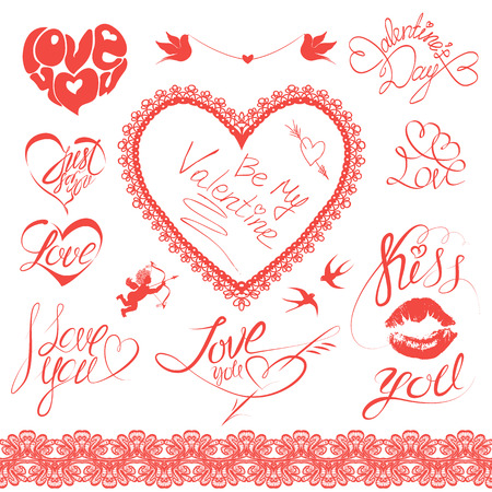 Set of holiday card design elements. Happy Valentine`s Day. Calligraphic text - I LOVE YOU, Be my Valentine, kiss you, etc., hearts, angel and birds Vector