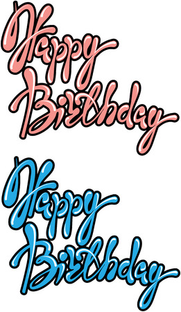 phrases: Set of 2 phrases Happy Birthday, calligraphic text in pink and blue colors. Element for holiday dard or invitation design Illustration