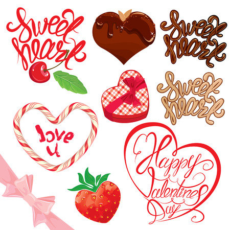sweet heart: Set of elements for Valentines day design. Calligraphic text Sweet Heart, Happy Valentines day, chocolate heart, strawberry, gift box.