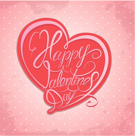 written text: Happy Valentine`s Day. Calligraphic element, Hand written text in heart shape on pink polka dots background