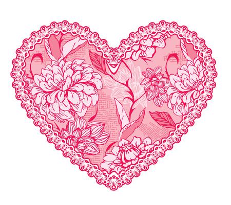 Coeur bien rose en dentelle avec motif floral. élément de design pour le mariage ou la carte Saint Valentin Banque d'images - 35717534