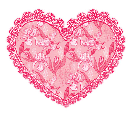 valentine day love beautiful: Pink fine lace heart with floral pattern. Design element for wedding or Valentines Day card Illustration