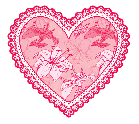 Pink fine lace heart with floral pattern. Design element for wedding or Valentines Day card Illustration