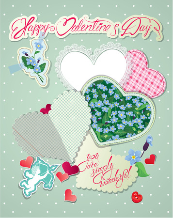 vintage backgrounds: Vintage card, old paper peaces in hearts shapes with handwritten calligraphic text - you are simply wonderful, Happy Valentines Day design with love. Illustration