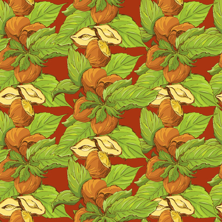 nutty: Seamless pattern with highly detailed handdrawn hazelnuts on brown background