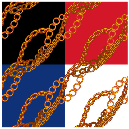 interlink: Set of seamless patterns with handdrawn Gold chains on black, red, blue and white backgrounds.