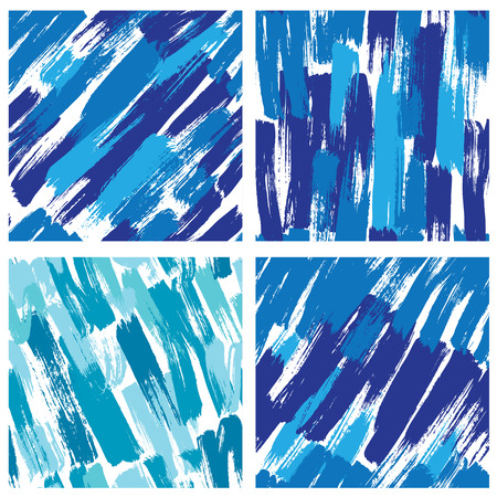 Set of seamless pattern with blots and ink splashes in blue colors. Abstract background for design in grunge style. Ready to use as swatch.