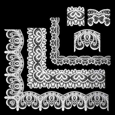 lace edges: Frame Elements Set - different lace edges and borders - Seamless stripes - floral lace ornament - white on black background