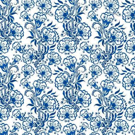 behang blauw: Naadloze blauwe bloemmotief. Achtergrond in de stijl van de Chinese schilderen op porselein of Russische gzhel stijl. Stock Illustratie