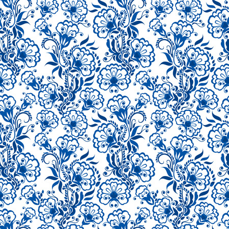 floral print: Seamless blue floral pattern. Background in the style of Chinese painting on porcelain or Russian gzhel style.