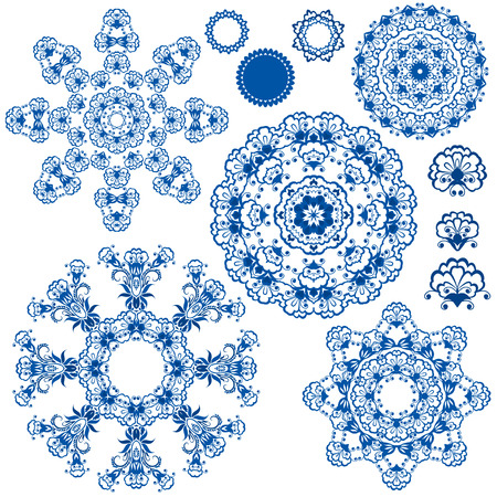 gzhel: Set of  blue floral circle patterns. Background in the style of Chinese painting on porcelain. Ornamental design elements.